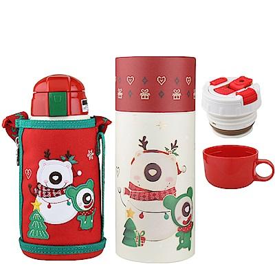 韓國 BEDDY BEAR-316不鏽鋼兒童可背式水壺630ML附3D造型杯套(聖誕樹款)