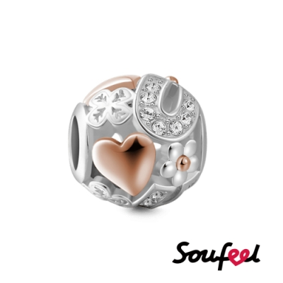 SOUFEEL索菲爾 925純銀珠飾  心心相吸(18K玫瑰金 ) 串珠