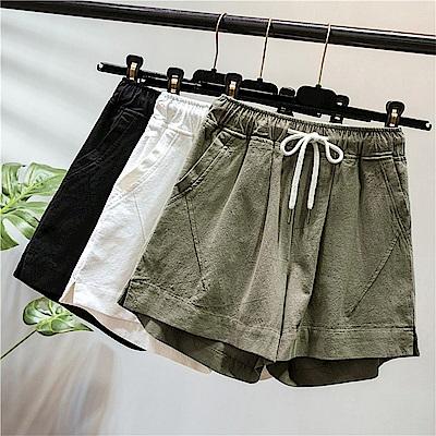 初色  純色百搭休閒短褲-共3色-(XL/2XL可選)