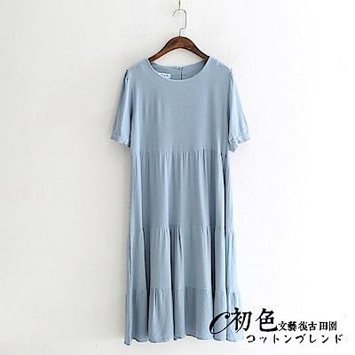 文藝純色氣質圓領連衣裙-共3色(F可選)     初色