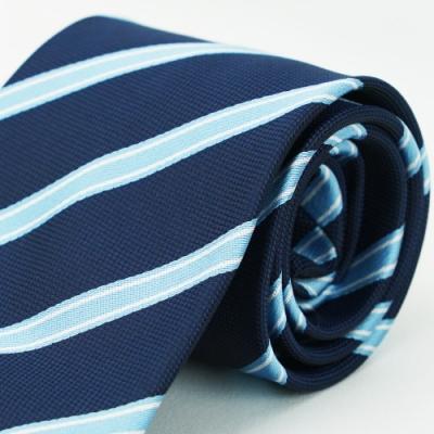 Alpaca 深藍寬淺藍紋領帶fast