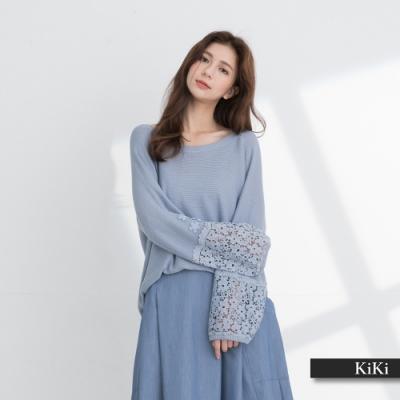 【KiKi】鏤空蕾絲袖口設計-針織衫(二色/版型寬鬆)