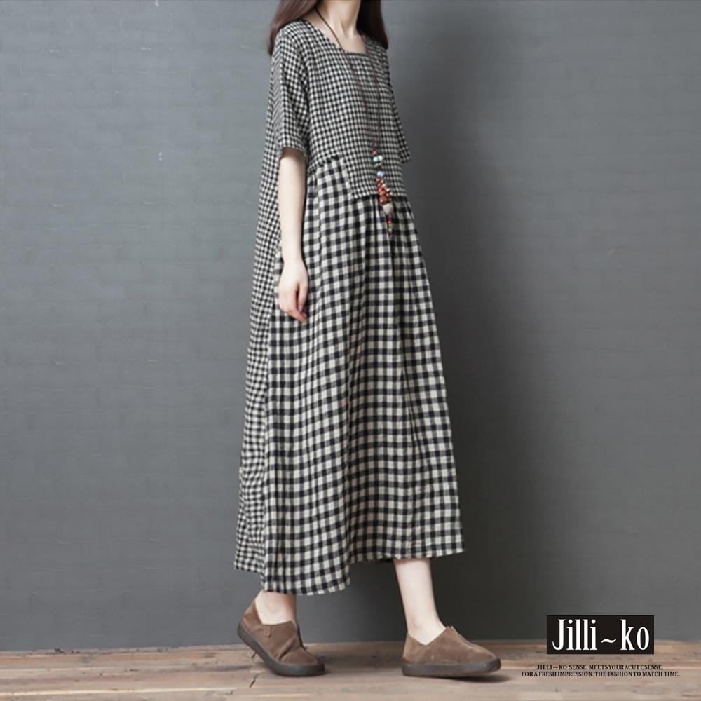 JILLI-KO 時尚格紋舒適寬鬆棉麻感連衣裙- 黑色