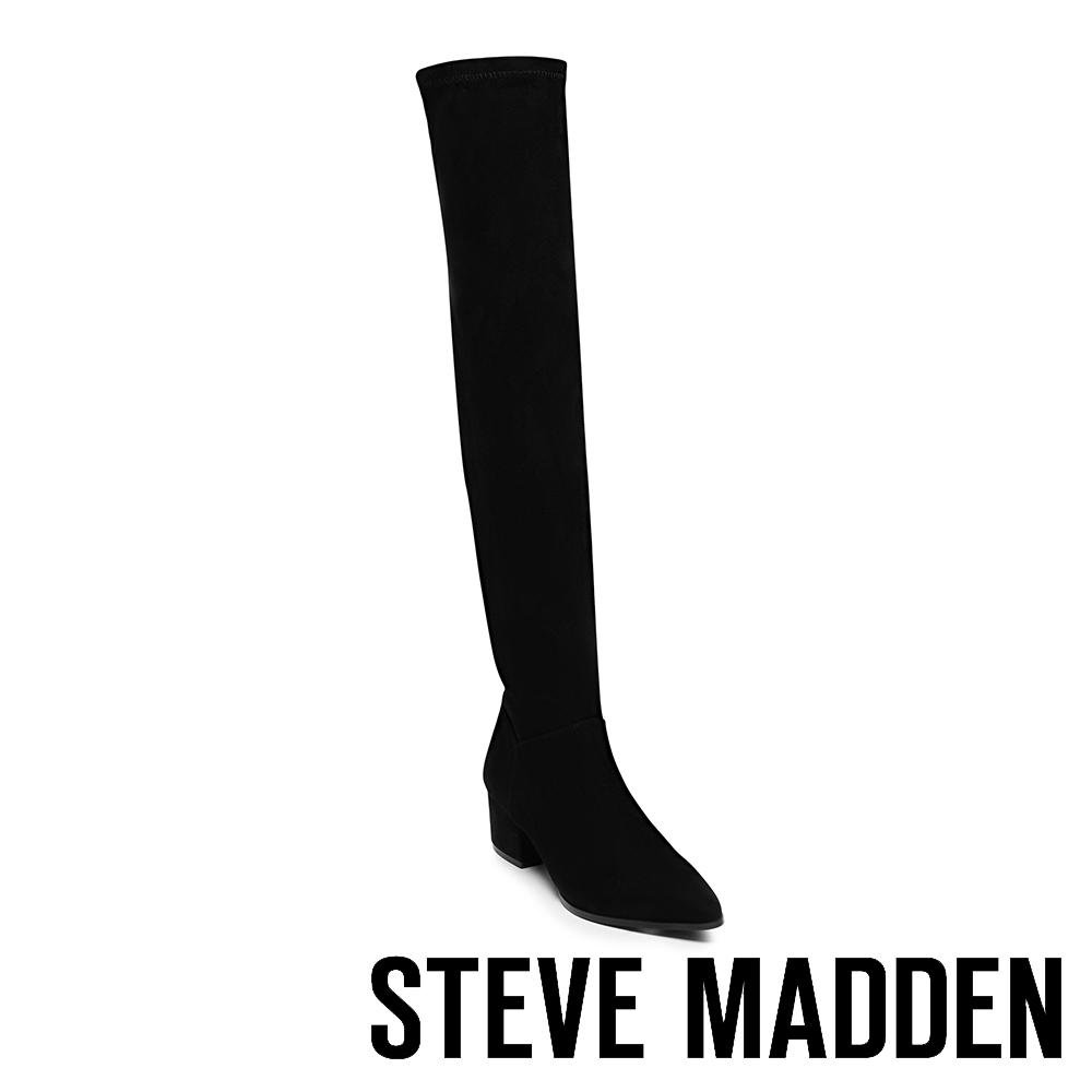 STEVE MADDEN-TERESA摩登款粗跟過膝套靴-絨黑