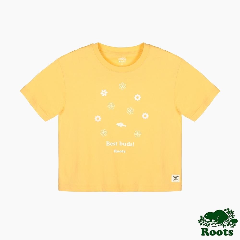 Roots 女裝- 環保有機棉系列 花卉寬短版T恤-黃色