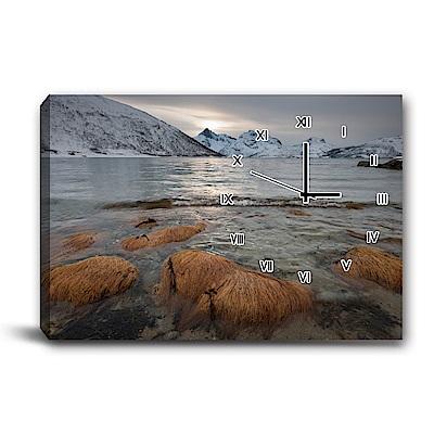 24mama掛畫-單聯式橫幅 掛鐘無框畫-雪景-60x40cm