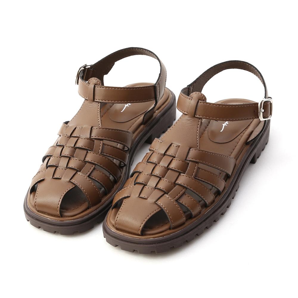 D+AF 搭配法則.加厚底編織羅馬涼鞋*咖