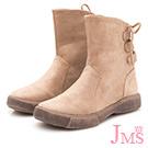JMS-簡約造型後綁帶斜口中靴-杏色
