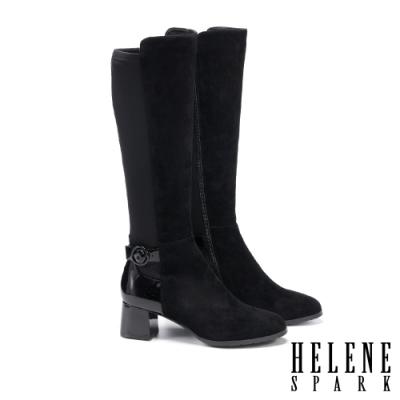 長靴 HELENE SPARK 率性時髦異材質拼接粗高跟長靴-黑