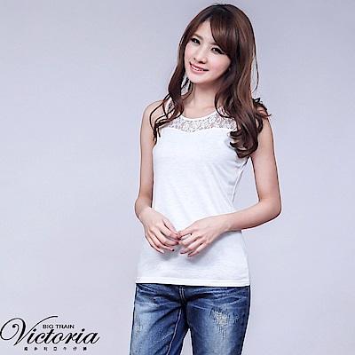 Victoria 蕾絲剪接背心-女-白