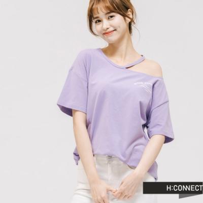 H:CONNECT 韓國品牌 女裝 -不對稱露肩設計T-Shirt-紫