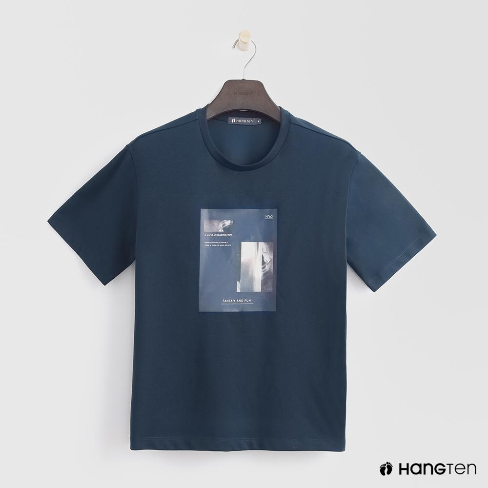 Hang Ten - 女裝 - 韓系簡約圓領圖片T桖 - 藍
