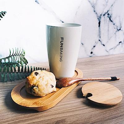 Homely Zakka 愜意時光不銹鋼雙層真空咖啡杯水杯附蓋(牛奶白)