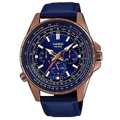 CASIO 精密時刻三針三眼設計風格腕錶-藍(MTP-SW320RL-2A)/47mm