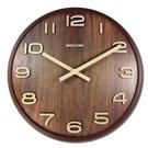 14吋日式簡約居家木質撞色立體刻度清新風格餐廳客廳臥室靜音掛鐘 - 核桃色