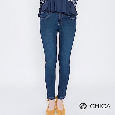 CHICA 青春動盪原味貼身刷色牛仔褲(1色)