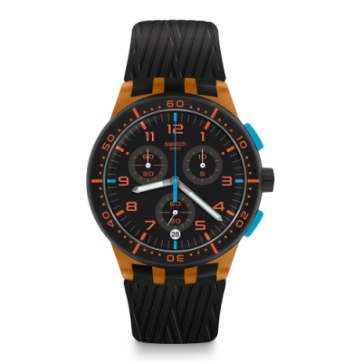 Swatch 原創系列手錶 ORANGE TIRE 走出戶外_橘色-42mm