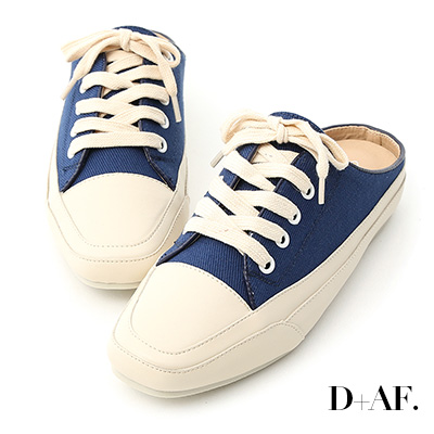 D+AF 隨性有型.小方頭帆布休閒穆勒鞋*藍