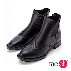 mo.oh-低跟雕花切爾西短靴-黑色