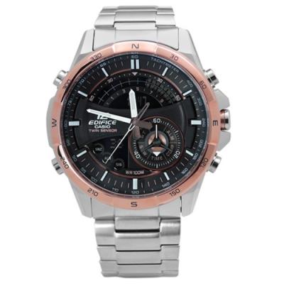 EDIFICE CASIO 卡西歐英式紳士不鏽鋼腕錶-黑x玫瑰金框/46mm