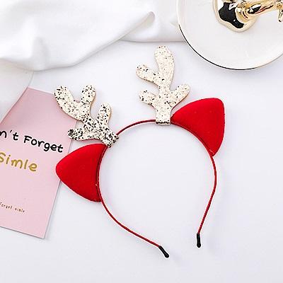 梨花HaNA 咘咘著用聖誕節可愛金粉麋鹿耳朵髮箍