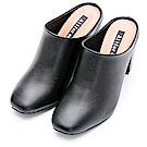 River&Moon簡約素面方頭粗高跟穆勒鞋-黑