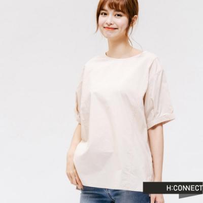 H:CONNECT 韓國品牌 女裝 -馬卡龍色寬鬆打摺上衣-卡其