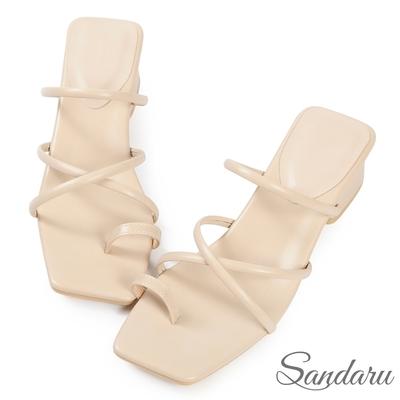 山打努SANDARU-涼鞋 時髦交叉細帶套趾中跟拖鞋-米
