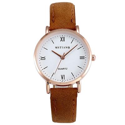 Watch-123 小說角落-文藝風羅馬刻度小錶盤手錶