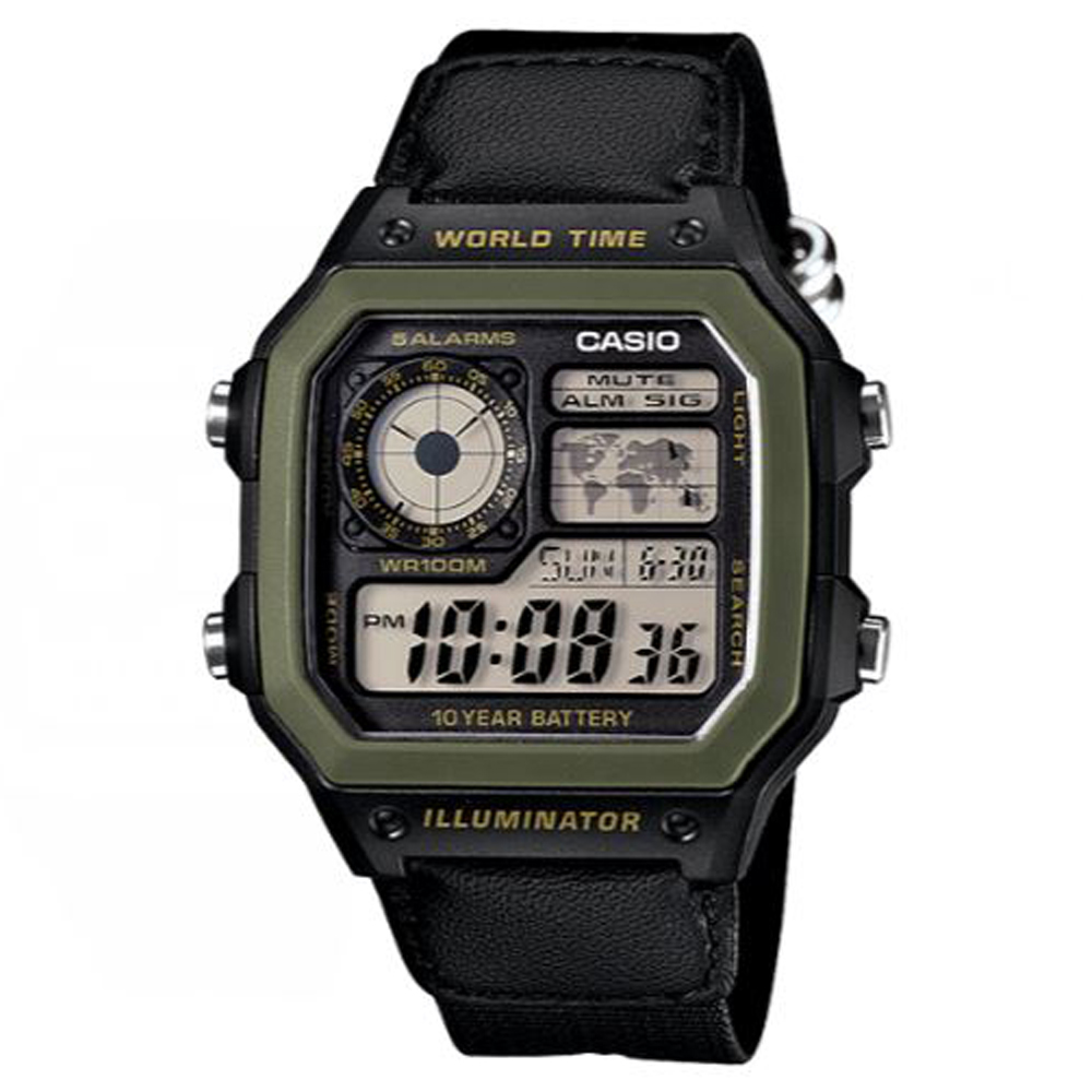 CASIO 經典地圖設計帆布材質數位休閒錶(AE-1200WHB-1B)黑X綠框/45mm
