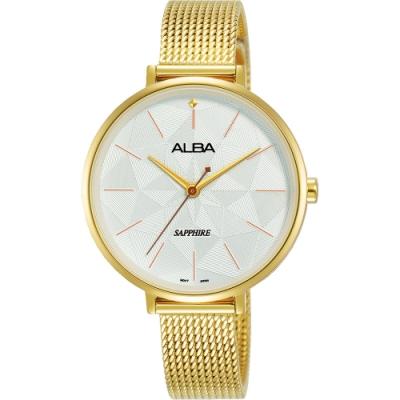 ALBA 雅柏 民族菱格風格時尚女錶(AH8686X1)-銀x金/34mm