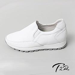 【T2R】正韓空運全真皮氣質樂福增高鞋-白-增高6公分