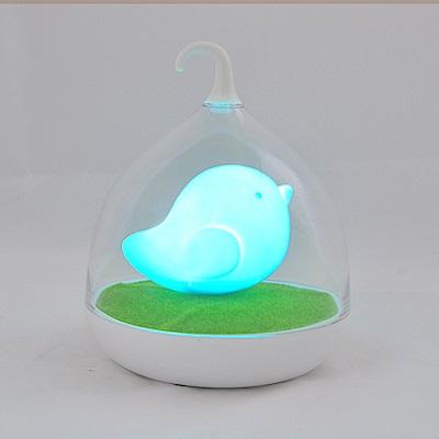 半島良品 創意萌系LED鳥籠小夜燈- 慧藍鳥