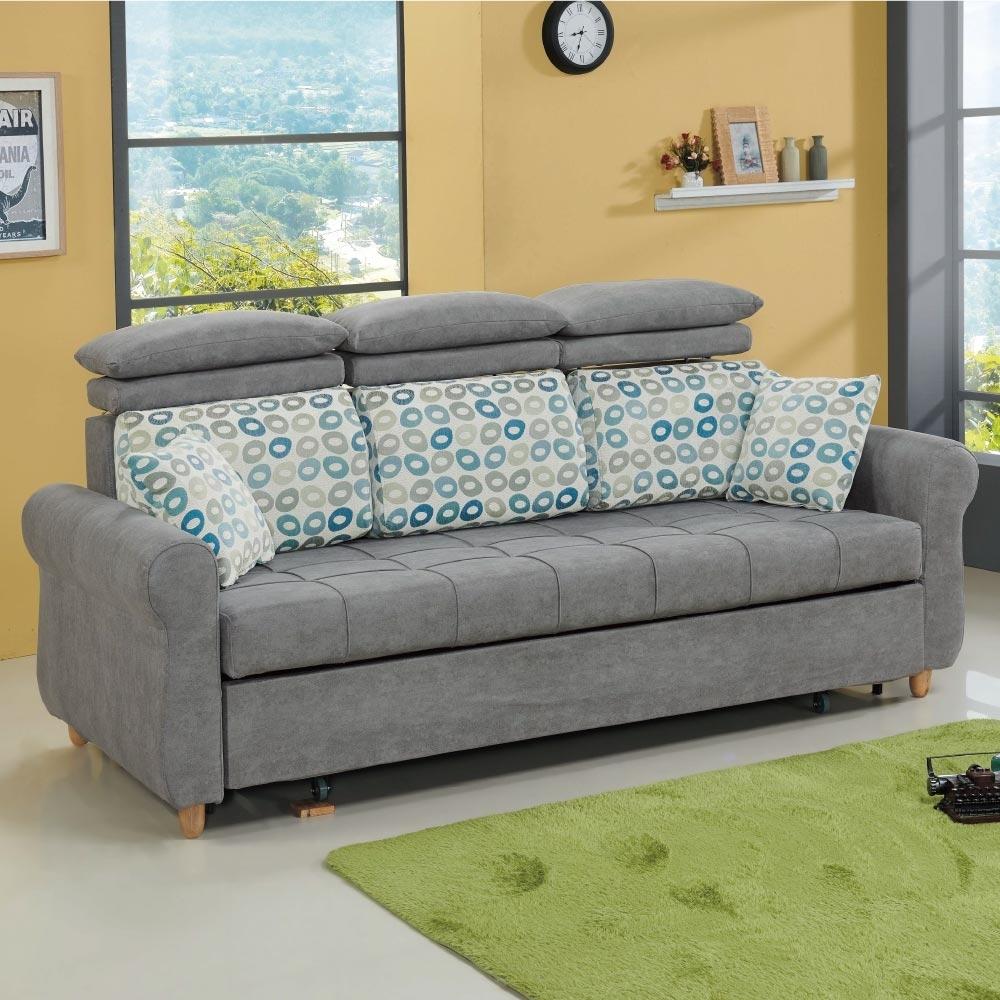 文創集 葛拉漢現代灰絲絨布三人沙發/沙發床(拉合式機能設計)-214x94x102cm免組