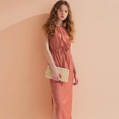 AIR SPACE LADY 質感排釦綁帶無袖洋裝(粉橘)