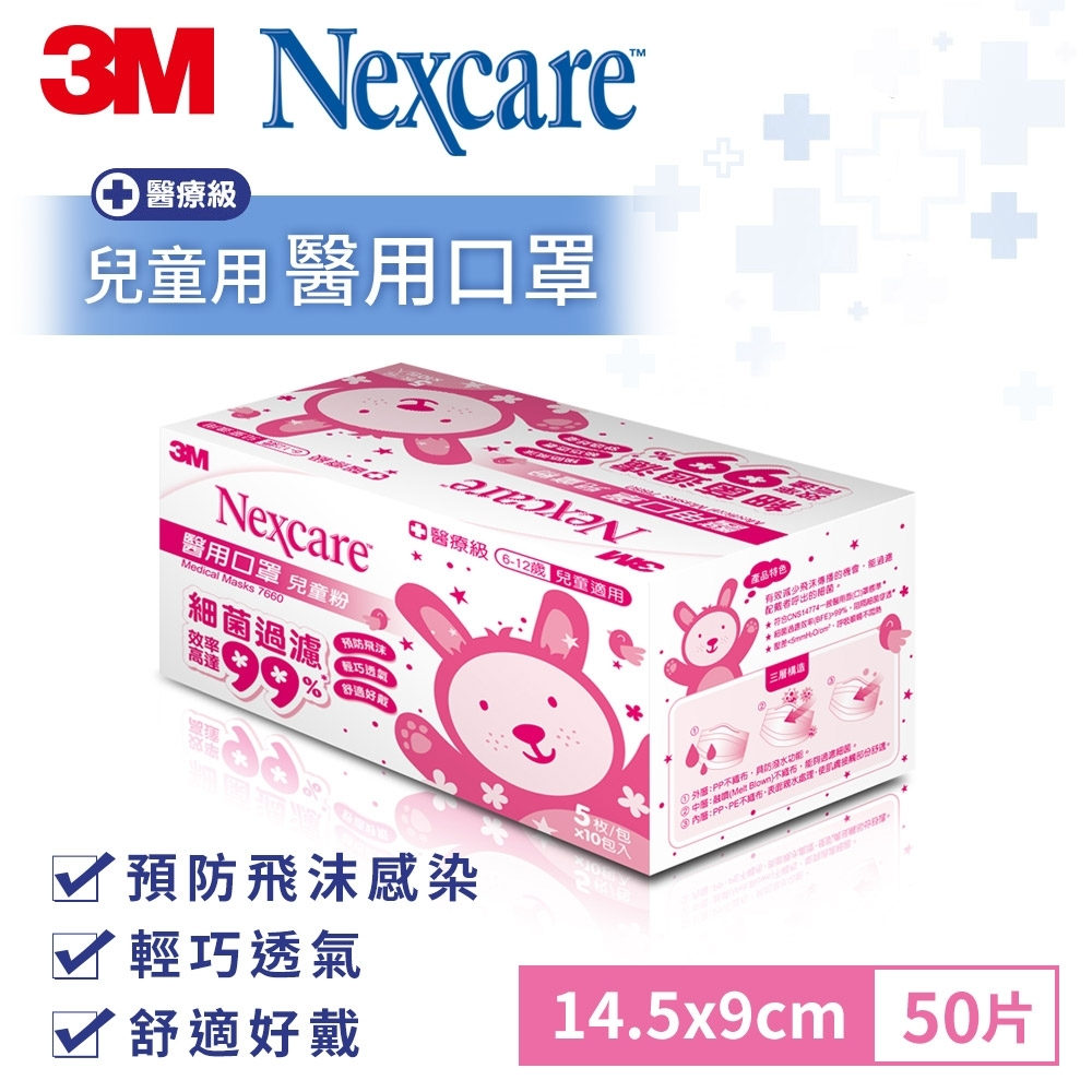 3M 兒童適用醫用口罩-粉紅(50片/盒裝)