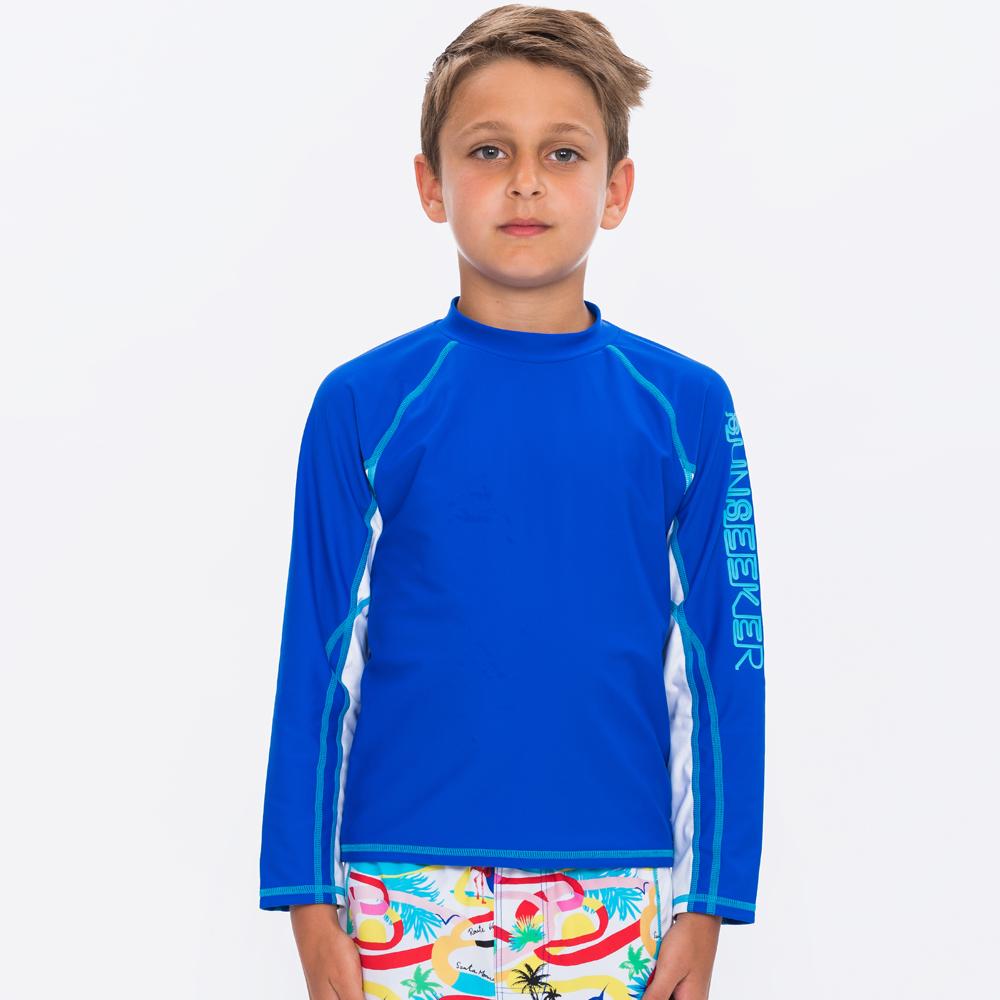澳洲Sunseeker泳裝抗UV防曬立領長袖泳衣一件式-大男童BLUE