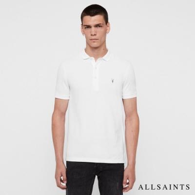 ALLSAINTS REFORM 素面公羊頭骨刺繡純棉短袖POLO衫-白