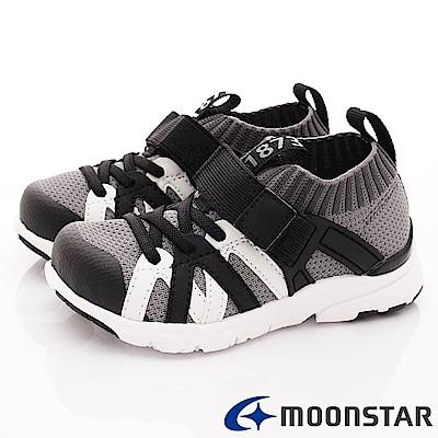 日本月星頂級競速童鞋 襪套輕量鞋款 TW2296黑(中小童段)