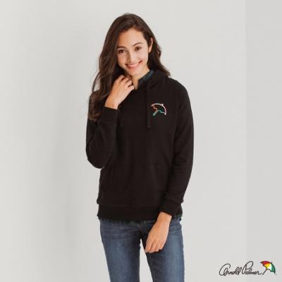 Arnold Palmer -女裝-胸前大傘連帽T恤-黑色