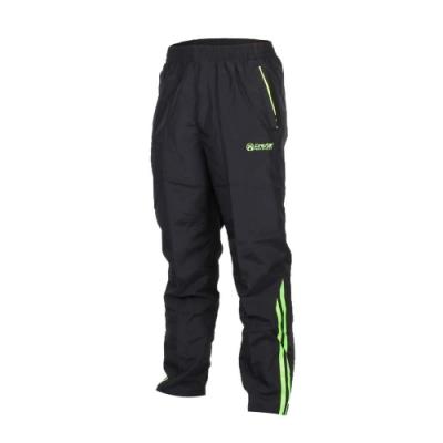男長褲-防風 跑步 慢跑 黑螢光綠