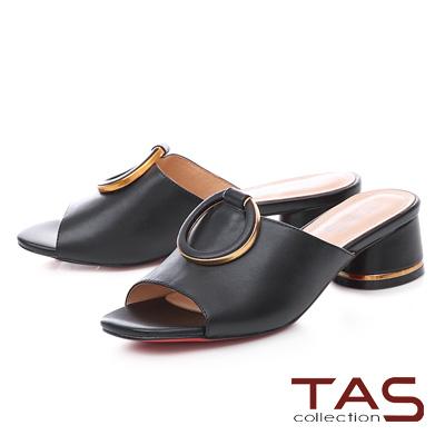 TAS金屬滾邊大扣寬版繫帶粗跟涼拖鞋-經典黑