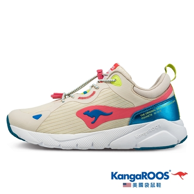 KangaROOS 女 ZEPHYR 防撥水跑鞋(米白-KW11421)