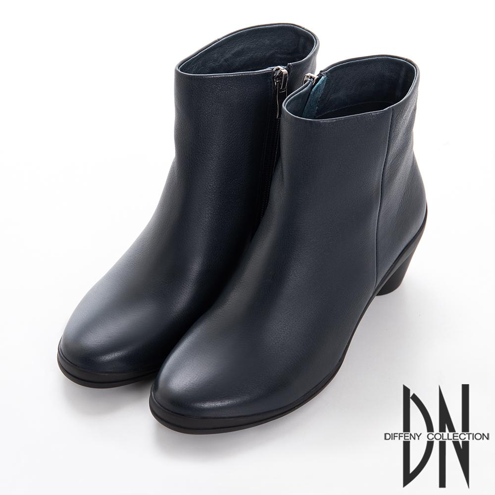 DN 都會女子 質感牛皮平口素面跟靴-藍