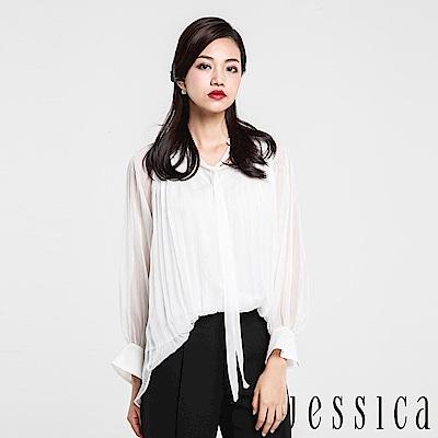 JESSICA - 優雅鑽領綁帶雪紡上衣