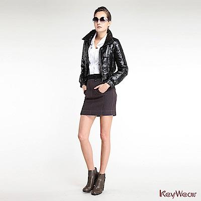 KeyWear奇威名品    經典短版造型羽絨外套-黑色