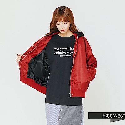 H:CONNECT 韓國品牌 女裝-電繡文字連帽飛行外套-紅