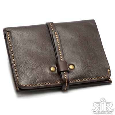 2R 頭層植鞣牛皮 Craftsman 細帶手感短夾 伯爵咖啡