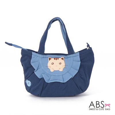ABS貝斯貓 可愛小魚趴趴貓布包小提袋(海洋藍)88-115