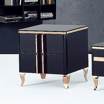 Boden-馬菲2尺黑色玻璃二抽小茶几/收納櫃-60x40x58cm